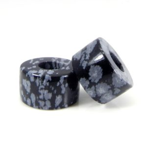 Shop Beads With Large Holes! Natural snowflake obsidian heishi flat smooth 14 x 8 x 5.5 mm gemstone beads universal large hole european charm beads for making bracelet | Shop jewelry making and beading supplies, tools & findings for DIY jewelry making and crafts. #jewelrymaking #diyjewelry #jewelrycrafts #jewelrysupplies #beading #affiliate #ad