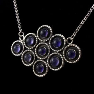 Shop Iolite Pendants! Nine Circles Iolite Necklace in Sterling Silver   Nine Circles Iolite Pendant   Iolite Multi Stone Necklace   Iolite Statement Necklace   Natural genuine Iolite pendants. Buy crystal jewelry, handmade handcrafted artisan jewelry for women.  Unique handmade gift ideas. #jewelry #beadedpendants #beadedjewelry #gift #shopping #handmadejewelry #fashion #style #product #pendants #affiliate #ad
