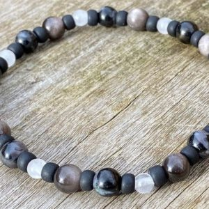Mens Danburite, Silver Sheen Obsidian and Garbo Healing Stone Bracelet or Anklet with Positive Healing Energy! | Natural genuine Array bracelets. Buy handcrafted artisan men's jewelry, gifts for men.  Unique handmade mens fashion accessories. #jewelry #beadedbracelets #beadedjewelry #shopping #gift #handmadejewelry #bracelets #affiliate #ad