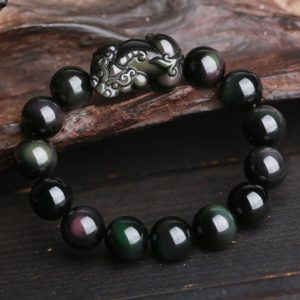 Natural Rainbow Eye Obsidian Feng Shui Pi Xiu Good Luck Beaded Healing Bracelet Gift-Wealth and Prosperity Bracelet-Abundance Money Bracelet | Natural genuine Obsidian bracelets. Buy crystal jewelry, handmade handcrafted artisan jewelry for women.  Unique handmade gift ideas. #jewelry #beadedbracelets #beadedjewelry #gift #shopping #handmadejewelry #fashion #style #product #bracelets #affiliate #ad