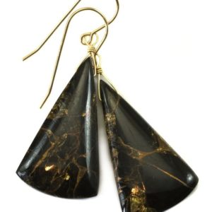 Shop Obsidian Earrings! Black Copper Mosaic Obsidian Earrings Smooth Drops Sterling Silver or 14k Solid Gold or Filled Long Triangle Unique Contemporary Spyglass | Natural genuine Obsidian earrings. Buy crystal jewelry, handmade handcrafted artisan jewelry for women.  Unique handmade gift ideas. #jewelry #beadedearrings #beadedjewelry #gift #shopping #handmadejewelry #fashion #style #product #earrings #affiliate #ad