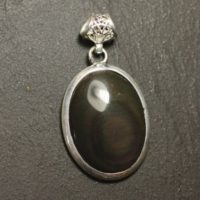 N60 – 925 Sterling Silver Pendant And Stone – Obsidian Rainbow Sky Eye Celeste Oval 28x21mm | Natural genuine Gemstone jewelry. Buy crystal jewelry, handmade handcrafted artisan jewelry for women.  Unique handmade gift ideas. #jewelry #beadedjewelry #beadedjewelry #gift #shopping #handmadejewelry #fashion #style #product #jewelry #affiliate #ad