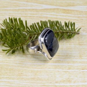 Shop Obsidian Rings! Statement Square Spiderweb Obsidian Ring // Obsidian Jewelry // Spiderweb Obsidian Jewelry // Sterling Silver // Village Silversmith | Natural genuine Obsidian rings, simple unique handcrafted gemstone rings. #rings #jewelry #shopping #gift #handmade #fashion #style #affiliate #ad