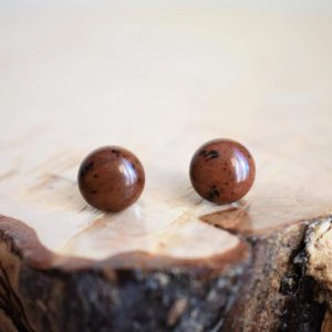 Shop Mahogany Obsidian Earrings! Obsidian stone studs earrings on stainless steel. Cinnamon post earrings for women. Gift idea for her. | Natural genuine Mahogany Obsidian earrings. Buy crystal jewelry, handmade handcrafted artisan jewelry for women.  Unique handmade gift ideas. #jewelry #beadedearrings #beadedjewelry #gift #shopping #handmadejewelry #fashion #style #product #earrings #affiliate #ad