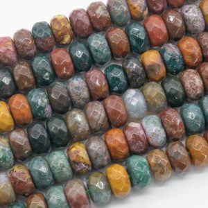 Shop Ocean Jasper Faceted Beads! Genuine Natural Multicolor Ocean Jasper Loose Beads Faceted Rondelle Shape 10x6MM | Natural genuine faceted Ocean Jasper beads for beading and jewelry making.  #jewelry #beads #beadedjewelry #diyjewelry #jewelrymaking #beadstore #beading #affiliate #ad