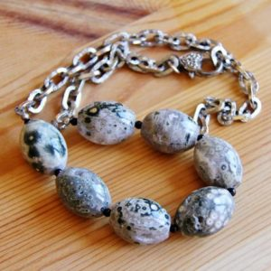 Shop Ocean Jasper Necklaces! Ocean Jasper necklace, big bold chunky necklace, statement stone necklace, druzy necklace, ocean jasper necklace, big choker, gift for women | Natural genuine Ocean Jasper necklaces. Buy crystal jewelry, handmade handcrafted artisan jewelry for women.  Unique handmade gift ideas. #jewelry #beadednecklaces #beadedjewelry #gift #shopping #handmadejewelry #fashion #style #product #necklaces #affiliate #ad