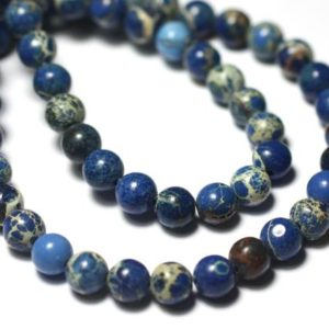 Shop Ocean Jasper Bead Shapes! 10pc – stone beads – Ocean Jasper balls 6mm Midnight Blue King Beige – 8741140028708 | Natural genuine other-shape Ocean Jasper beads for beading and jewelry making.  #jewelry #beads #beadedjewelry #diyjewelry #jewelrymaking #beadstore #beading #affiliate #ad
