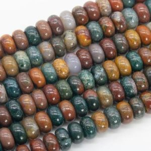 Shop Ocean Jasper Rondelle Beads! Genuine Natural Multicolor Ocean Jasper Loose Beads Rondelle Shape 10x6MM | Natural genuine rondelle Ocean Jasper beads for beading and jewelry making.  #jewelry #beads #beadedjewelry #diyjewelry #jewelrymaking #beadstore #beading #affiliate #ad