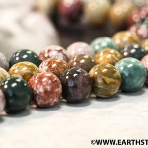 """M/ Ocean Jasper 14mm/ 12mm Smooth Round Beads 16"""" Strand Natural multi color Ocean Jasper beads for jewelry making 