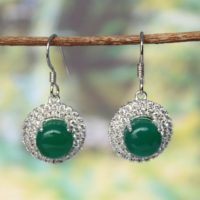 Green Onyx Drop Earrings-onyx Cluster Earrings-round Onyx Cluster Drops-onyx 925 Silver Earrings-round Onyx Silver Dangle Drops | Natural genuine Gemstone jewelry. Buy crystal jewelry, handmade handcrafted artisan jewelry for women.  Unique handmade gift ideas. #jewelry #beadedjewelry #beadedjewelry #gift #shopping #handmadejewelry #fashion #style #product #jewelry #affiliate #ad