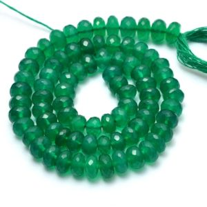 Shop Onyx Faceted Beads! AAA+ Green Onyx Gemstone 5mm-7mm Faceted Rondelle Beads | 13inch Strand | Natural Green Onyx Semi Precious Gemstone Beads for Jewelry Making | Natural genuine faceted Onyx beads for beading and jewelry making.  #jewelry #beads #beadedjewelry #diyjewelry #jewelrymaking #beadstore #beading #affiliate #ad