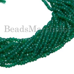 Shop Onyx Faceted Beads! Green Onyx Faceted Rondelle Shape Gemstone Beads, Green Onyx Beads, Green Onyx Faceted Rondelle Cut Beads, Green Onyx Wholesale Beads | Natural genuine faceted Onyx beads for beading and jewelry making.  #jewelry #beads #beadedjewelry #diyjewelry #jewelrymaking #beadstore #beading #affiliate #ad