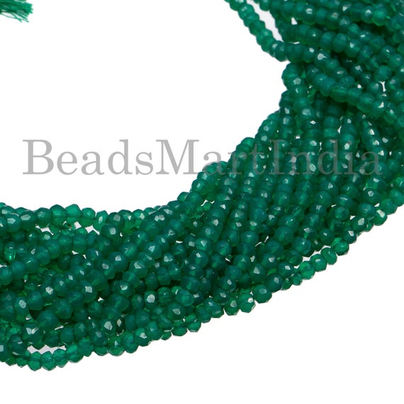 Green Onyx Faceted Rondelle Shape Gemstone Beads, Green Onyx Beads, Green Onyx Faceted Rondelle Cut Beads, Green Onyx Wholesale Beads