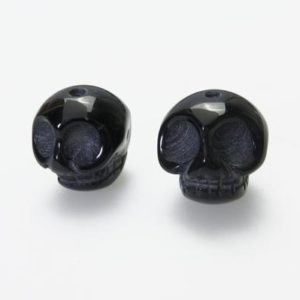 Shop Onyx Bead Shapes! Natural Black Onyx Skull Beads – Carved Gemstone Beads – Black Stone Carvings – 16mm Beads For Jewelry | Natural genuine other-shape Onyx beads for beading and jewelry making.  #jewelry #beads #beadedjewelry #diyjewelry #jewelrymaking #beadstore #beading #affiliate #ad