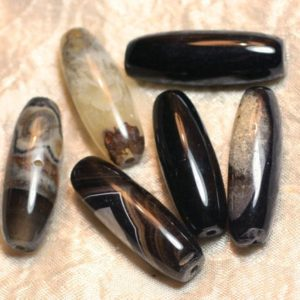 Shop Onyx Bead Shapes! Wire 39cm 9pc env – beads of stone – Onyx Black Quartz Olives bobbin 38-40mm | Natural genuine other-shape Onyx beads for beading and jewelry making.  #jewelry #beads #beadedjewelry #diyjewelry #jewelrymaking #beadstore #beading #affiliate #ad