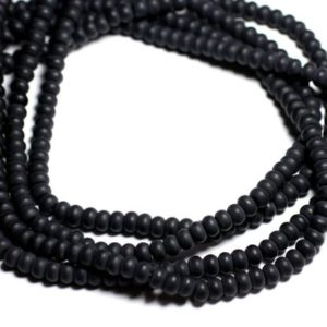 Shop Onyx Rondelle Beads! Wire 39cm 98pc env – stone beads – frosted matte black Onyx Rondelle 6x4mm | Natural genuine rondelle Onyx beads for beading and jewelry making.  #jewelry #beads #beadedjewelry #diyjewelry #jewelrymaking #beadstore #beading #affiliate #ad