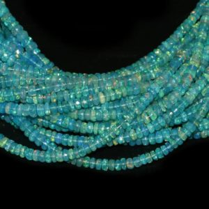 Shop Opal Beads! Paraiba Opal Faceted Rondelle Shape beads, Paraiba Opal rondelle beads, Paraiba Opal faceted beads, Paraiba Opal faceted rondelle beads | Natural genuine beads Opal beads for beading and jewelry making.  #jewelry #beads #beadedjewelry #diyjewelry #jewelrymaking #beadstore #beading #affiliate #ad