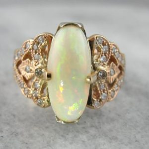 Shop Opal Rings! Opulent Opal Cocktail Ring in Fine Rose Gold 9RQDXR-N | Natural genuine Opal rings, simple unique handcrafted gemstone rings. #rings #jewelry #shopping #gift #handmade #fashion #style #affiliate #ad
