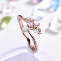 Opal Wedding Band Rose Gold Women Unique Art Deco Antique Open Ring Birthstone Alternative Anniversary Promise Gift For Her 14k / 18k / platinum | Natural genuine Gemstone jewelry. Buy handcrafted artisan wedding jewelry.  Unique handmade bridal jewelry gift ideas. #jewelry #beadedjewelry #gift #crystaljewelry #shopping #handmadejewelry #wedding #bridal #jewelry #affiliate #ad