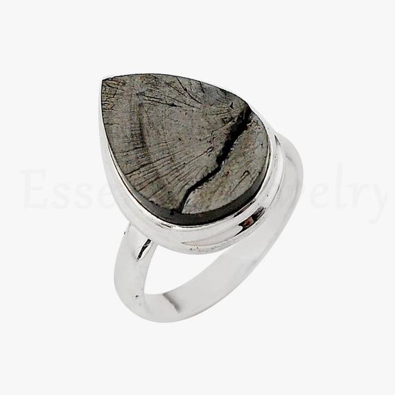 Pear Shungite Ring, Pear Gemstone, Simple Band Ring, Handmade Ring, Cabochon Gemstone, Bohemian Jewelry, Silver Gift Ring, Gypsy Ring, Sale