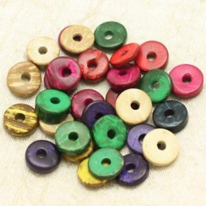 20pc – pearls Donuts coconut Rondelles 12mm multicolored 4558550000354 | Natural genuine beads Gemstone beads for beading and jewelry making.  #jewelry #beads #beadedjewelry #diyjewelry #jewelrymaking #beadstore #beading #affiliate #ad