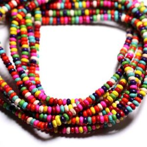 Shop Pearl Rondelle Beads! Yarn 39cm 170pc env – Pearls of Pierre Turquoise Synthesis Rondelles 4x2mm Multicolored | Natural genuine rondelle Pearl beads for beading and jewelry making.  #jewelry #beads #beadedjewelry #diyjewelry #jewelrymaking #beadstore #beading #affiliate #ad