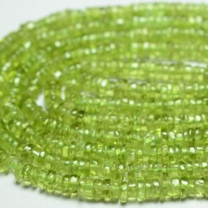 "Shop Peridot Bead Shapes! 16"" Natural Peridot Heishi Beads 4mm to 4.5mm Wheel Shape Beads Smooth Gemstone Beads Finest Peridot Beads Semi Precious Stone No4304 