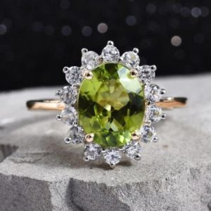 Natural Peridot Engagement Ring in Sterling Silver, Wedding Ring,August Birthstones,Birthday Gift,Promiee Ring, Perifot Ring,Gift for Her | Natural genuine Array rings, simple unique alternative gemstone engagement rings. #rings #jewelry #bridal #wedding #jewelryaccessories #engagementrings #weddingideas #affiliate #ad
