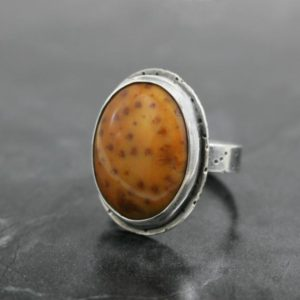 Shop Petrified Wood Rings! Petrified Palm Wood And Sterling Silver Ring, Spotted Tan Gemstone, Size 7 | Natural genuine Petrified Wood rings, simple unique handcrafted gemstone rings. #rings #jewelry #shopping #gift #handmade #fashion #style #affiliate #ad