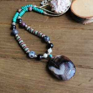 Shop Petrified Wood Necklaces! Petrified wood necklace heart pendant peyote beaded blue necklace turquoise brown stone handmade boho tribal unique jewelry for women SLD | Natural genuine Petrified Wood necklaces. Buy crystal jewelry, handmade handcrafted artisan jewelry for women.  Unique handmade gift ideas. #jewelry #beadednecklaces #beadedjewelry #gift #shopping #handmadejewelry #fashion #style #product #necklaces #affiliate #ad