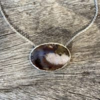 Petrified Wood Pendant, Organic Style, Fossilised Wood, Silver Chain Necklace | Natural genuine Gemstone jewelry. Buy crystal jewelry, handmade handcrafted artisan jewelry for women.  Unique handmade gift ideas. #jewelry #beadedjewelry #beadedjewelry #gift #shopping #handmadejewelry #fashion #style #product #jewelry #affiliate #ad