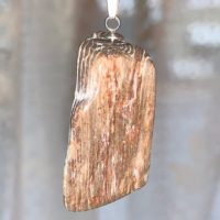 Petrified Wood Tumbled Pendant With Silver Alloy Necklace. Item T-41 | Natural genuine Gemstone jewelry. Buy crystal jewelry, handmade handcrafted artisan jewelry for women.  Unique handmade gift ideas. #jewelry #beadedjewelry #beadedjewelry #gift #shopping #handmadejewelry #fashion #style #product #jewelry #affiliate #ad