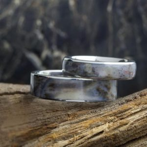 Shop Petrified Wood Rings! Petrified Wood Wedding Band In Titanium, Unique Wood Ring For Man Or Woman | Natural genuine Petrified Wood rings, simple unique alternative gemstone engagement rings. #rings #jewelry #bridal #wedding #jewelryaccessories #engagementrings #weddingideas #affiliate #ad