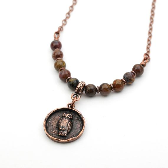Owl Necklace With Dark Earthtone Beads, Copper Tone Chain, Brown Pietersite Beads, Bird Jewelry, 20 Inches Long