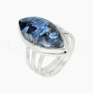 Shop Pietersite Rings! Pietersite Ring, Handmade Ring, 925 Sterling Silver, Marquise Gemstone, Statement Ring, Triple Band Ring, Cabochon Gemstone, Bohemian Ring | Natural genuine Pietersite rings, simple unique handcrafted gemstone rings. #rings #jewelry #shopping #gift #handmade #fashion #style #affiliate #ad