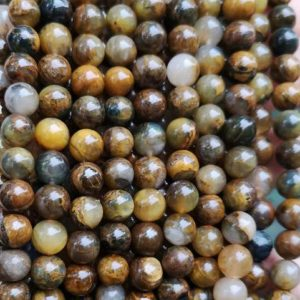 """Shop Pietersite Beads! Natural AAA Yellow Pietersite Smooth Round Beads,6mm 8mm 10mm 12mm Pietersite Beads Wholesale Supply,one strand 15"""" 