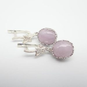 """Shop Kunzite Earrings! Pink kunzite and sterling silver dangling earrings. """"Lilac and butterflies"""". Kunzite silver earrings.   Natural genuine Kunzite earrings. Buy crystal jewelry, handmade handcrafted artisan jewelry for women.  Unique handmade gift ideas. #jewelry #beadedearrings #beadedjewelry #gift #shopping #handmadejewelry #fashion #style #product #earrings #affiliate #ad"""