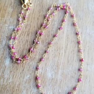 Shop Pink Sapphire Necklaces! Pink Sapphire Necklace, Pink Gemstone Beaded Necklace, 16 Inch Necklace, Pink Sapphire Beaded Choker, Minimalist Dainty Pink Necklace Gold   Natural genuine Pink Sapphire necklaces. Buy crystal jewelry, handmade handcrafted artisan jewelry for women.  Unique handmade gift ideas. #jewelry #beadednecklaces #beadedjewelry #gift #shopping #handmadejewelry #fashion #style #product #necklaces #affiliate #ad