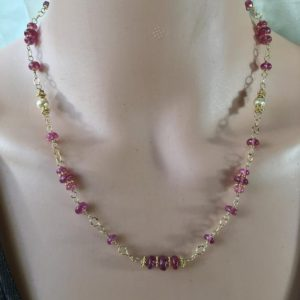 Shop Pink Sapphire Necklaces! Pink Sapphire Necklace, genuine bright stones in gold rosary style gemstone necklace. Beautiful!   Natural genuine Pink Sapphire necklaces. Buy crystal jewelry, handmade handcrafted artisan jewelry for women.  Unique handmade gift ideas. #jewelry #beadednecklaces #beadedjewelry #gift #shopping #handmadejewelry #fashion #style #product #necklaces #affiliate #ad