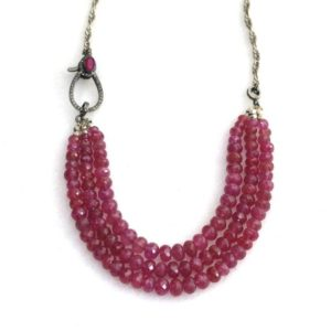 Shop Pink Sapphire Necklaces! Pink Sapphire Necklace with Genuine Diamond and Pink Sapphire Silver Clasp, Pink Sapphire Statement Necklace   Natural genuine Pink Sapphire necklaces. Buy crystal jewelry, handmade handcrafted artisan jewelry for women.  Unique handmade gift ideas. #jewelry #beadednecklaces #beadedjewelry #gift #shopping #handmadejewelry #fashion #style #product #necklaces #affiliate #ad