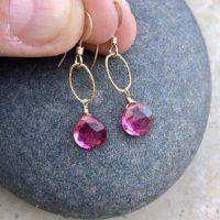 Pink Tourmaline Earrings, Hot Fuchsia Gold Earrings, October Birthstone, Simple Everyday Tiny Dangle Earrings, Dainty Delicate Gift For Her. | Natural genuine Gemstone jewelry. Buy crystal jewelry, handmade handcrafted artisan jewelry for women.  Unique handmade gift ideas. #jewelry #beadedjewelry #beadedjewelry #gift #shopping #handmadejewelry #fashion #style #product #jewelry #affiliate #ad