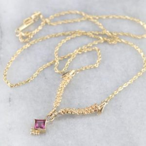 Shop Pink Tourmaline Necklaces! Pink Tourmaline Yellow Gold Necklace, Solitaire Gemstone, Tourmaline Birthstone, Layering Necklace, Anniversary Gift EDAHJ5D2 | Natural genuine Pink Tourmaline necklaces. Buy crystal jewelry, handmade handcrafted artisan jewelry for women.  Unique handmade gift ideas. #jewelry #beadednecklaces #beadedjewelry #gift #shopping #handmadejewelry #fashion #style #product #necklaces #affiliate #ad