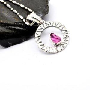 Shop Pink Tourmaline Pendants! Pink tourmaline pendant in sterling silver natural facet gemstone outlined circle necklace – gift for girlfriend tourmaline unique jewelry | Natural genuine Pink Tourmaline pendants. Buy crystal jewelry, handmade handcrafted artisan jewelry for women.  Unique handmade gift ideas. #jewelry #beadedpendants #beadedjewelry #gift #shopping #handmadejewelry #fashion #style #product #pendants #affiliate #ad