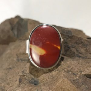 Shop Mookaite Jasper Rings! Polished Mookaite Jasper And Sterling Silver Ring – Size Adjustable | Natural genuine Mookaite Jasper rings, simple unique handcrafted gemstone rings. #rings #jewelry #shopping #gift #handmade #fashion #style #affiliate #ad