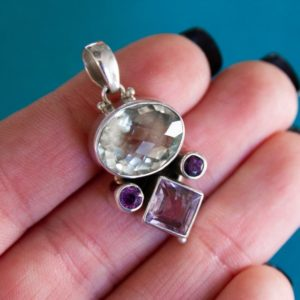 Shop Green Amethyst Pendants! Prasiolite and Amethyst Pendant ~ Sterling Silver, large oval prasiolite, square and round amethysts, faceted gemstones, purple and green | Natural genuine Green Amethyst pendants. Buy crystal jewelry, handmade handcrafted artisan jewelry for women.  Unique handmade gift ideas. #jewelry #beadedpendants #beadedjewelry #gift #shopping #handmadejewelry #fashion #style #product #pendants #affiliate #ad