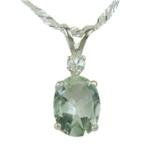 Shop Green Amethyst Jewelry! Prasiolite Green Amethyst Sterling Silver Necklace Pendant 9x7mm Oval 1.70ct | Natural genuine Green Amethyst jewelry. Buy crystal jewelry, handmade handcrafted artisan jewelry for women.  Unique handmade gift ideas. #jewelry #beadedjewelry #beadedjewelry #gift #shopping #handmadejewelry #fashion #style #product #jewelry #affiliate #ad