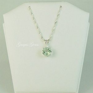 Shop Green Amethyst Jewelry! Prasiolite Green Amethyst Sterling Silver Necklace 8mm 1.80ct With White Zircon Accent | Natural genuine Green Amethyst jewelry. Buy crystal jewelry, handmade handcrafted artisan jewelry for women.  Unique handmade gift ideas. #jewelry #beadedjewelry #beadedjewelry #gift #shopping #handmadejewelry #fashion #style #product #jewelry #affiliate #ad