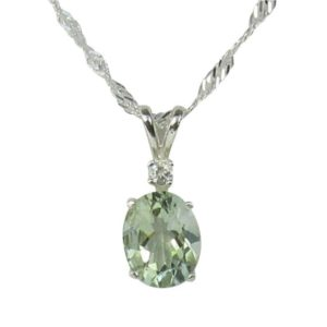 Shop Green Amethyst Jewelry! Prasiolite Necklace Sterling Silver 10x8mm 2.50ct With White Zircon Accent Green Amethyst | Natural genuine Green Amethyst jewelry. Buy crystal jewelry, handmade handcrafted artisan jewelry for women.  Unique handmade gift ideas. #jewelry #beadedjewelry #beadedjewelry #gift #shopping #handmadejewelry #fashion #style #product #jewelry #affiliate #ad