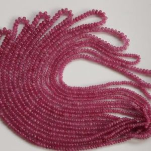 """Shop Ruby Rondelle Beads! Precious Natural Burma Ruby Gemstone 2-5 MM Smooth Rondelle Stone Beads Untreated Pink Ruby Round Beads For Jewelry Making 14"""" Ruby Beads 