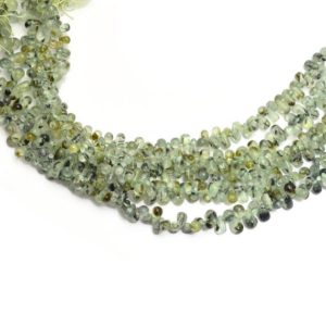 "Shop Prehnite Bead Shapes! Natural Prehnite Teardrop Beads | 3x5mm / 6x4mm Smooth Drops  8"" Strand 